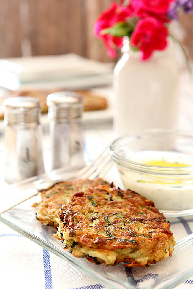 Zucchini and Potato Fritter with Garlic Herb Sauce from @creativculinary